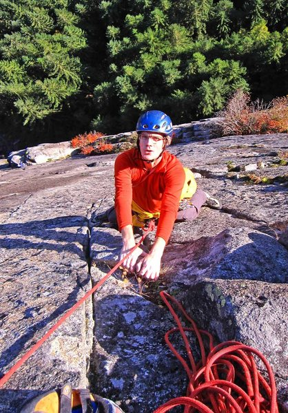Eric at the finishing jug on the long, sustained 4th pitch of Wildest Dreams.