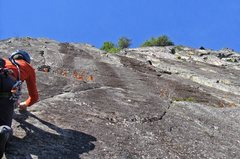 Rock Climbing Photo: On the crux 5.12 crack on Wildest Dreams.