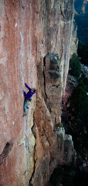 "Rock Climbing Photo: A.S. surveying the road ahead on ""Lats Don't ..."
