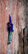 "Rock Climbing Photo: A.S. reaching high on ""Lats Don't Have Feelin..."