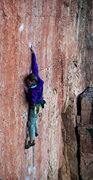 "Rock Climbing Photo: A.S. reaching high on ""Lats Don't Have Feelin..."