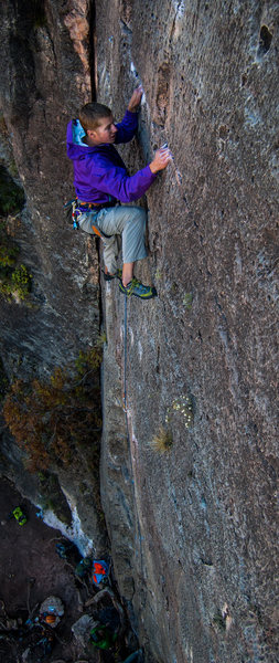 """Rock Climbing Photo: A.S. working the pockets on """"Enchanted Porkfi..."""