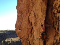 Rock Climbing Photo: Leaving the crack and heading out onto the face