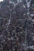 Rock Climbing Photo: Late Oct.  Ice rock and snow top to bottom. Perfec...