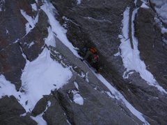 Rock Climbing Photo: Runnels on Pitch 2.  Photo: Josh Thompson.