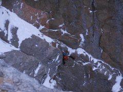 Rock Climbing Photo: The crux of pitch 1.  Photo: Josh Thompson.