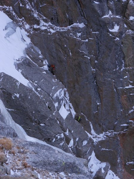Exiting the chimney on pitch 2.<br> <br> Photo: Josh Thompson.