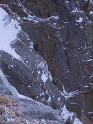 Rock Climbing Photo: Exiting the chimney on pitch 2.  Photo: Josh Thomp...