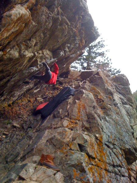 Rock Climbing Photo: Gabi on El Barrio Traverse, upper section
