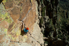 Rock Climbing Photo: Will Vining nears the crux of The Great Escape.