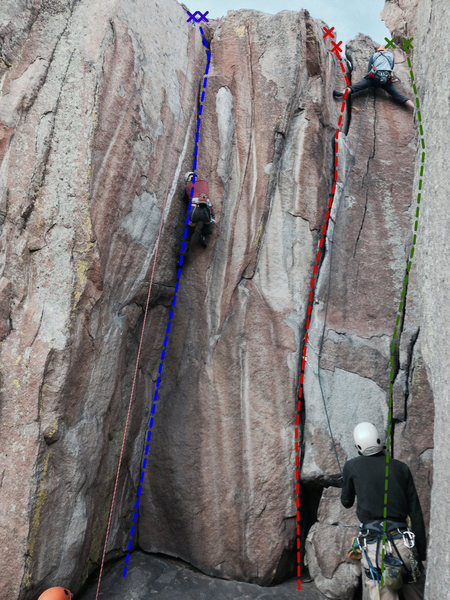 Blue Line: Cruise Control (5.10b)<br> Red Line: Automatic Pilot (5.8)<br> Green Line: Beginner's Lead (5.7) - starts on same face as other climbs