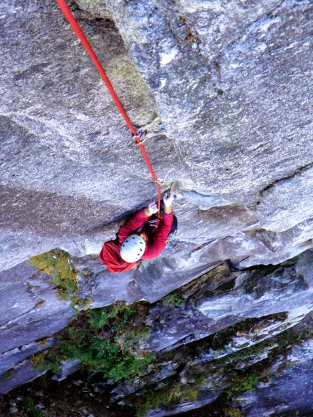 Rock Climbing Photo: Working the final moves on p3