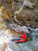Rock Climbing Photo: Gabi on El Barrio Traverse, lower section.