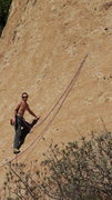 Rock Climbing Photo: An experienced climber using the 1st bolt and the ...