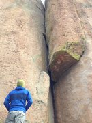 Rock Climbing Photo: Chad staring down Cardiac Crack. Note the stuck ca...