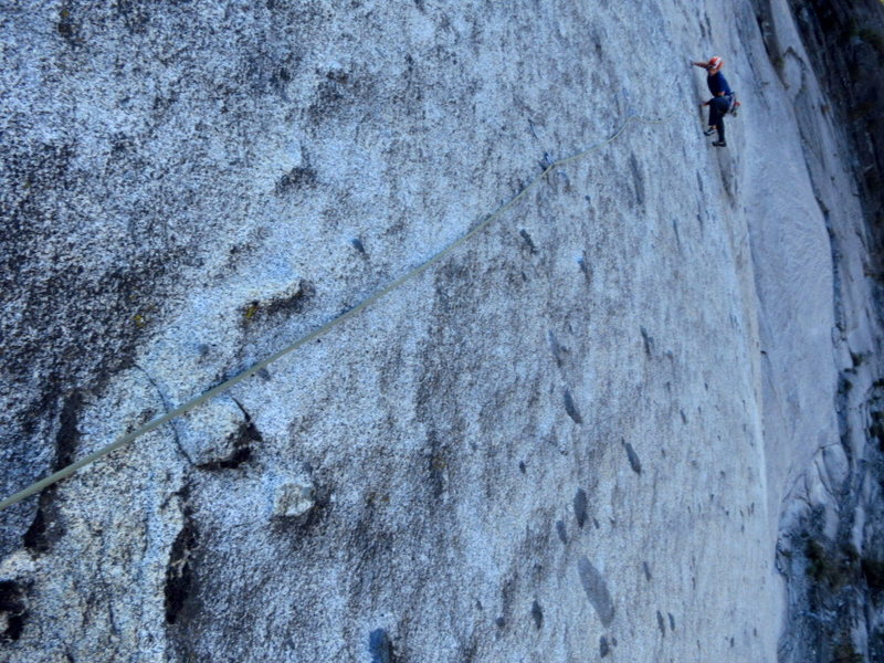 Perfect friction! Mac pastes his way across the P7 traverse. <br> <br> Photo: Corey Gargano