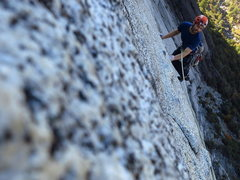 Rock Climbing Photo: Slab focus. P7 on Medicine Man.   Photo: Corey Gar...