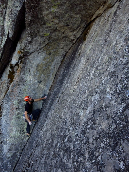 Rock Climbing Photo: Scoping the corner.   Photo: Corey Gargano