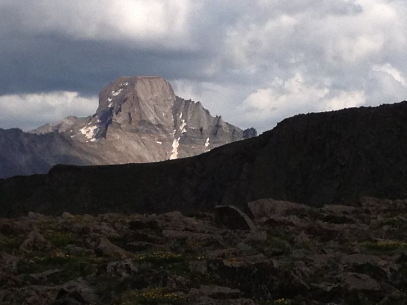 Rock Climbing Photo: Longs Peak from the west, on top of Flattop.