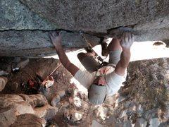Rock Climbing Photo: Doug on the jugs at the finish