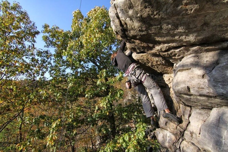 Rock Climbing Photo: At the first roof on Ounce of Perception