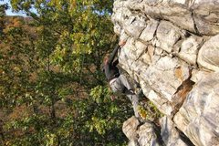 Rock Climbing Photo: Standing on the first roof, working on the second ...