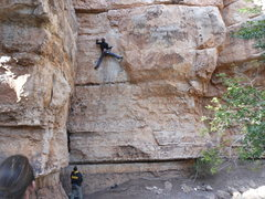 Rock Climbing Photo: Following the lead, tough area where it gets thin....