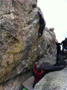 Rock Climbing Photo: My man Peter crushing for the 2nd ascent high abov...
