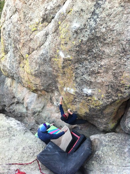 Josh working out the lower, steep, thuggish, crimp section!!!