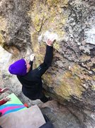 Rock Climbing Photo: Peter sticking the thin action on his way to send ...