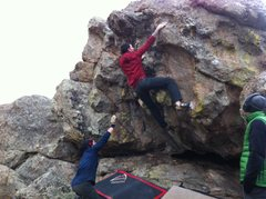 "Rock Climbing Photo: Sam staying warm while getting his FA of ""Win..."