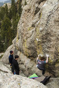 Rock Climbing Photo: On the crux section on the way to the 1st ascent o...