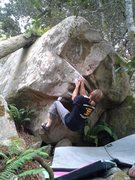 Rock Climbing Photo: Zach Anaya working on the tough move to the top.
