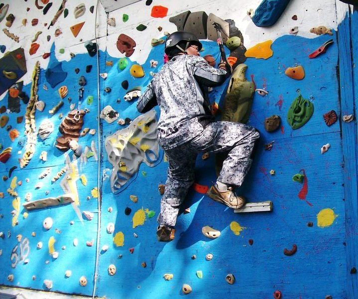 Rock Climbing Photo: tearing up a perfectly good climbing wall with ice...