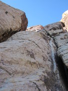 Rock Climbing Photo: Looking up at the finishing ramp of Pitch 2.  Bela...