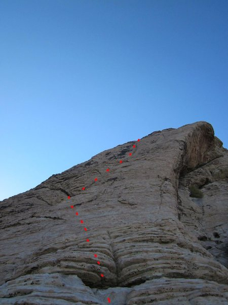 Looking up at Pitch 7.  The last pitch of technical climbing.