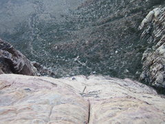 Rock Climbing Photo: Looking down at Pitch 7.