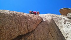 Rock Climbing Photo: Wyatt approaches the top of the flake.