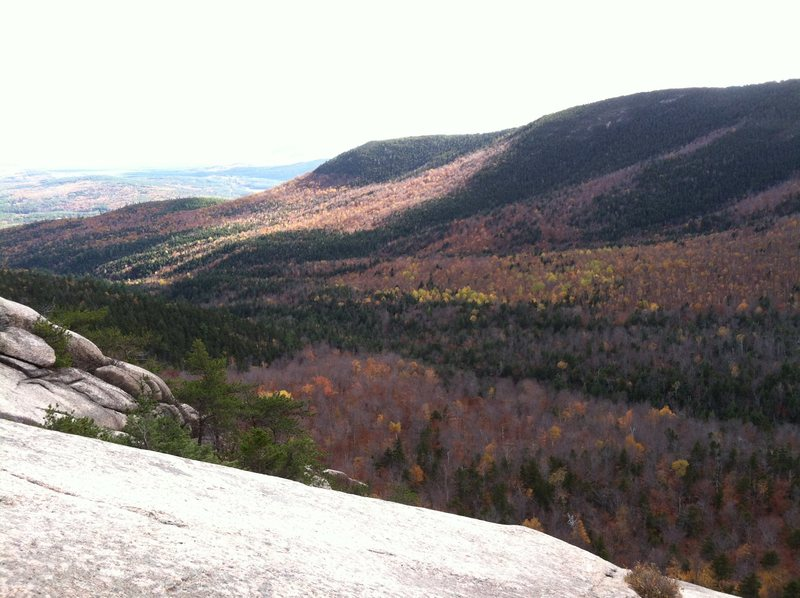 Shot of the valley with nice fall colors.  Taken while soloing Carter Ledge Direct October 20th, 2013