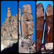 Rock Climbing Photo: Rocket Tower FA montage, Capulin Canyon, October 2...