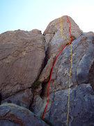 "Rock Climbing Photo: ""PB&C"" (yellow line) crosses ""Kruge..."