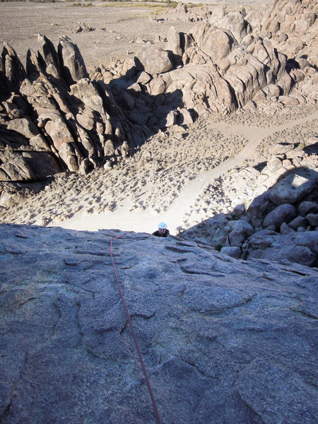 Rock Climbing Photo: Chris Wing just getting to the easier angle sectio...