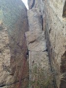 Rock Climbing Photo: Second pitch. Both cracks are solid, use the left ...