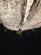 Rock Climbing Photo: Crux on the second pitch. Amazing hand and fist ja...
