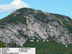 Rock Climbing Photo: Topo Le Dôme 1. Passerelle 2. Granuleuse 3. L'Ong...