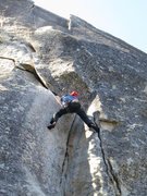 Rock Climbing Photo: Adam just past the start or crux of Flakes of Wrat...