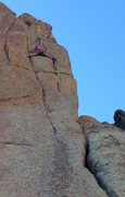 Rock Climbing Photo: Crossing over from the rightmost crack system to t...