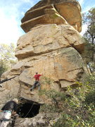 Rock Climbing Photo: Route works up and right to the thin crack then ou...