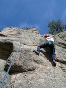 Rock Climbing Photo: Deb finds holds right of the bolts.