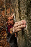 Rock Climbing Photo: Me, hitting the bad right hand before the lip (pho...